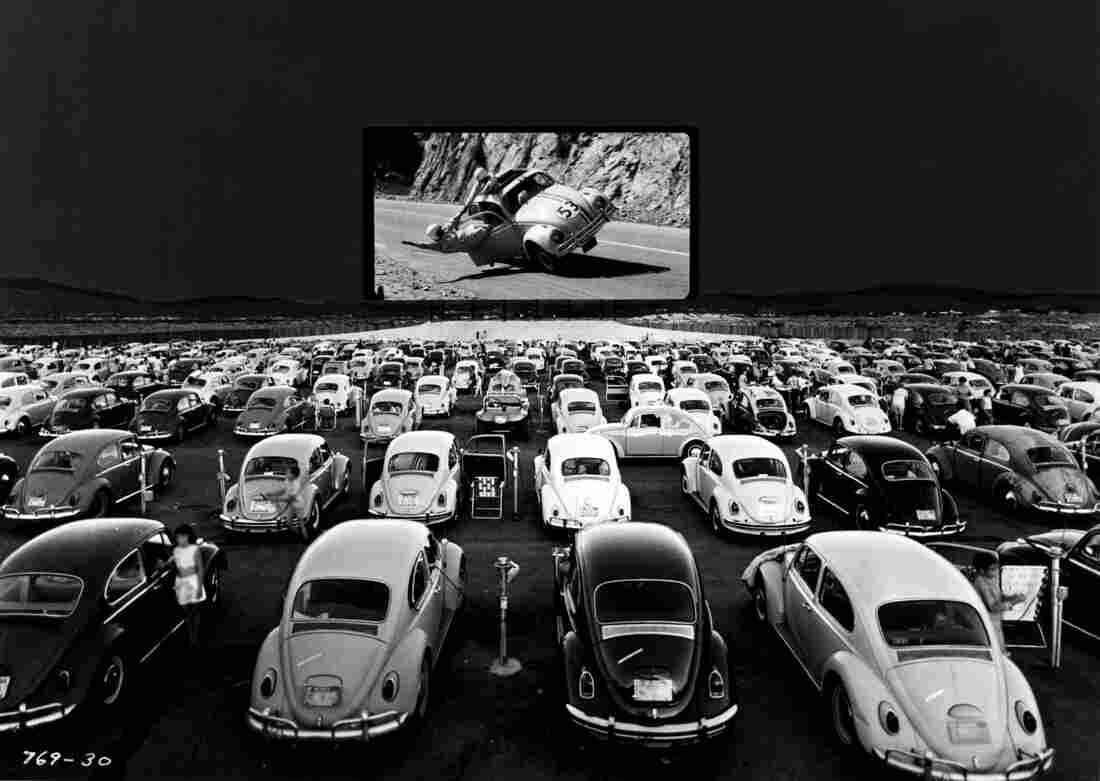 A screening of The Love Bug for Volkswagen Beetles in 1969 in Las Vegas.