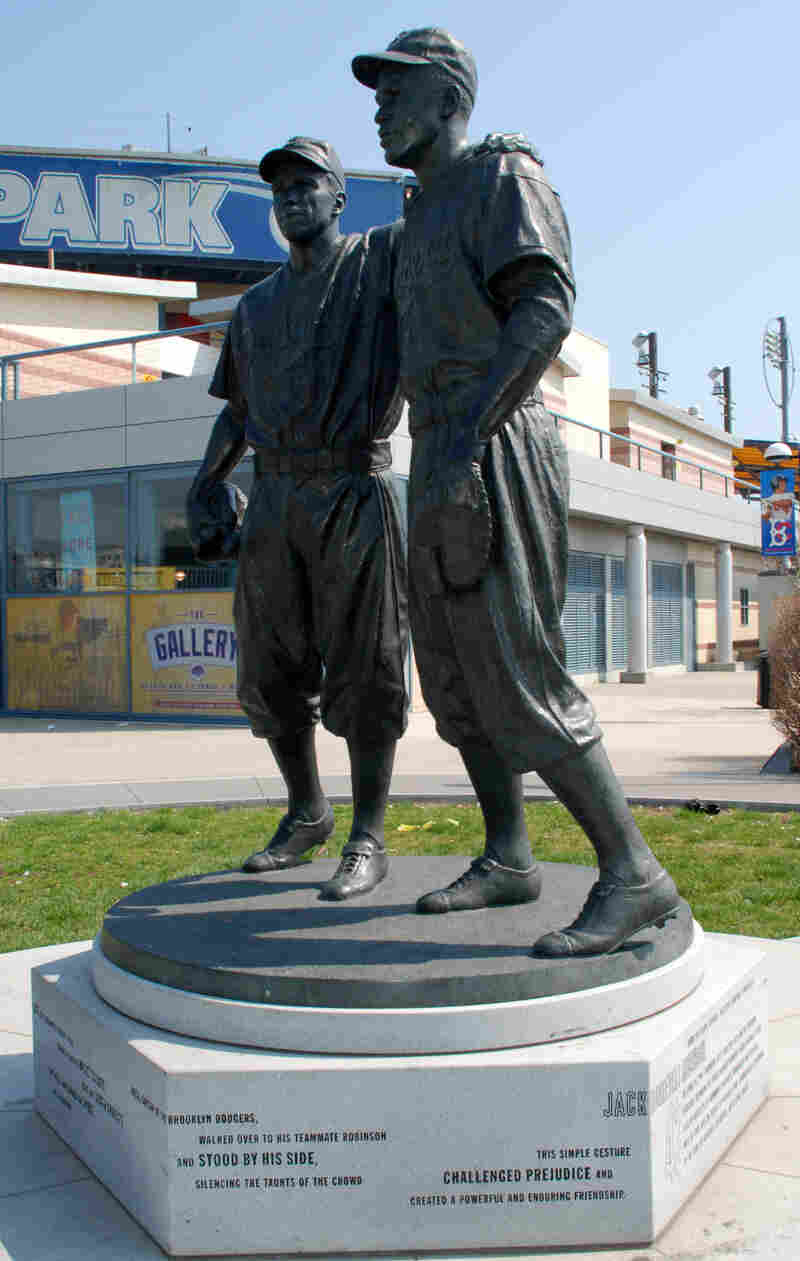 Before the damage: The statue of Pee Wee Reese and Jackie Robinson, outside the stadium where the minor league Brooklyn Cyclones play.