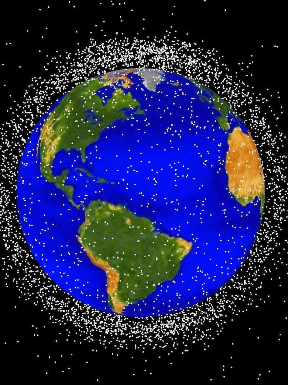 "A rendering of objects currently in Low Earth Orbit (not illustrated to scale). According to NASA, ""approximately 95 percent of the objects in this illustration are orbital debris, i.e., not functional satellites."""