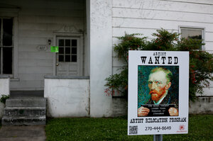 The adventurous spirit of Vincent Van Gogh alerts visiting artists looking for empty fixable homes or vacant lots.
