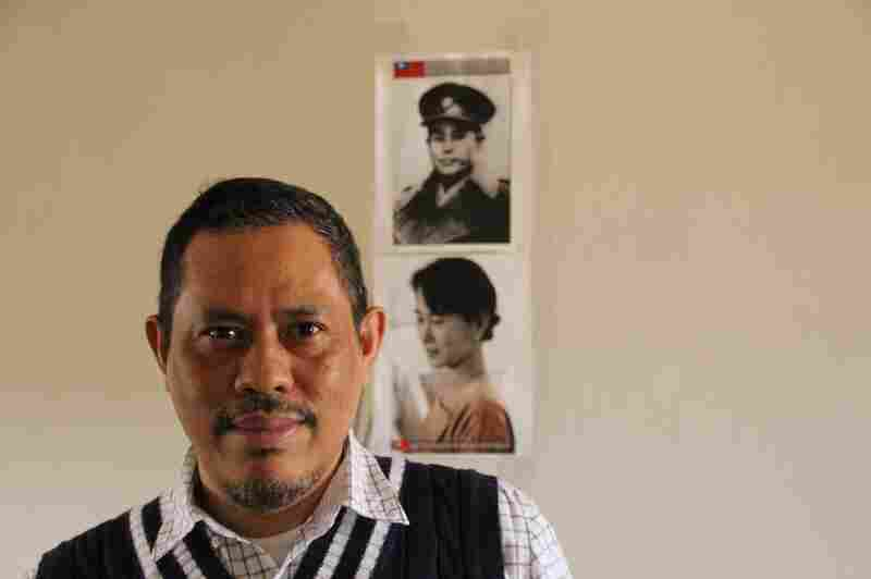 Moethee Zun, a 1988 student leader, at his apartment in Queens, N.Y., earlier this year. Pictures of Aung San Suu Kyi and her father, Aung San, are on the wall behind him. Once the crackdown began in September 1988, thousands of activists fled the country or were imprisoned.