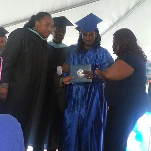 Ondelee Perteet at his June 15 graduation from Wendell Phillips Academy High School in Chicago.
