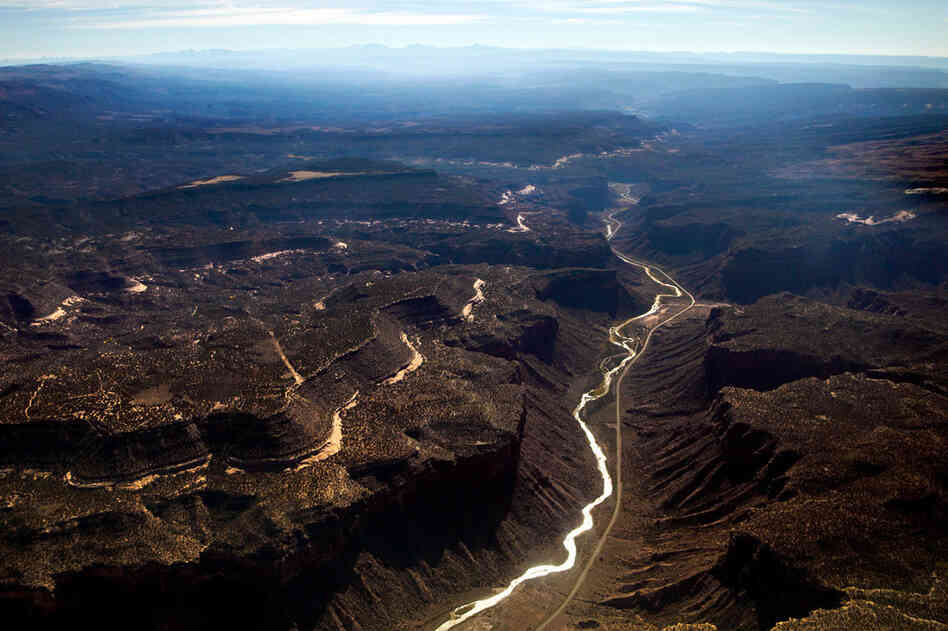 "A major tributary of the Colorado River, the Dolores River Basin, is seen south of Grand Junction, Colo. Ken Neubecker, executive director of the Western Rivers Institute, talks about the connection of water and energy. ""Water takes a lot of energy; a huge amount of energy. People don't realize it. We tend to take water for granted."""