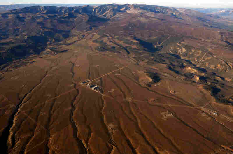 """Gas pads in Garfield County. Fracking uses 5 million gallons of water per well, and thousands of wells are being fracked in Colorado alone. """"This is enough water for two average families a year,"""" Neubecker says."""