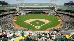 In its efforts to get the Oakland A's to relocate to their city, San Jose officials filed an antitrust lawsuit against Major League Baseball this year. The Oakland stadium is seen here in a file photo.