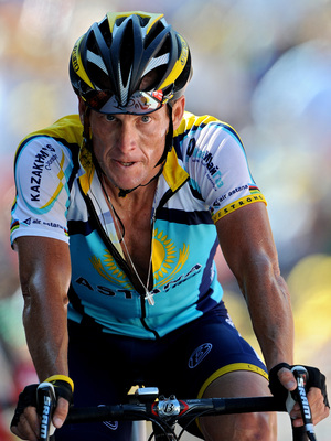Lance Armstrong crosses the finish line at the end of stage 15 of the 2009 Tour de France from Pontarlier to Verbier on July 19, 2009 in Verbier, Switzerland. Armstrong has admitted to using the anemia drug known as EPO.