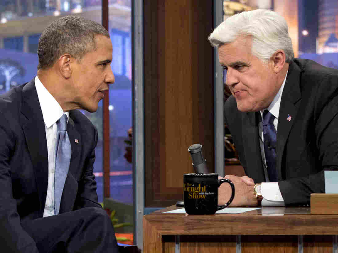 """President Obama talks with Jay Leno during the taping of his appearance on The Tonight Show with Jay Leno. Obama told Leno: """"We don't have a domestic spying program."""""""