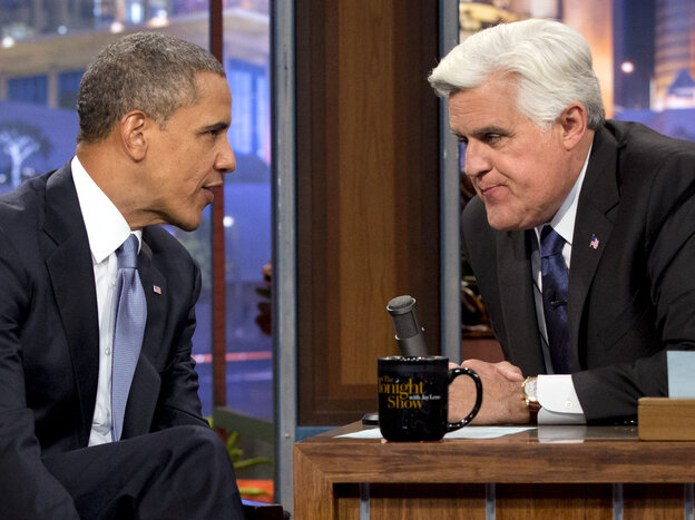 President Obama talks with Jay Leno during the taping of his a