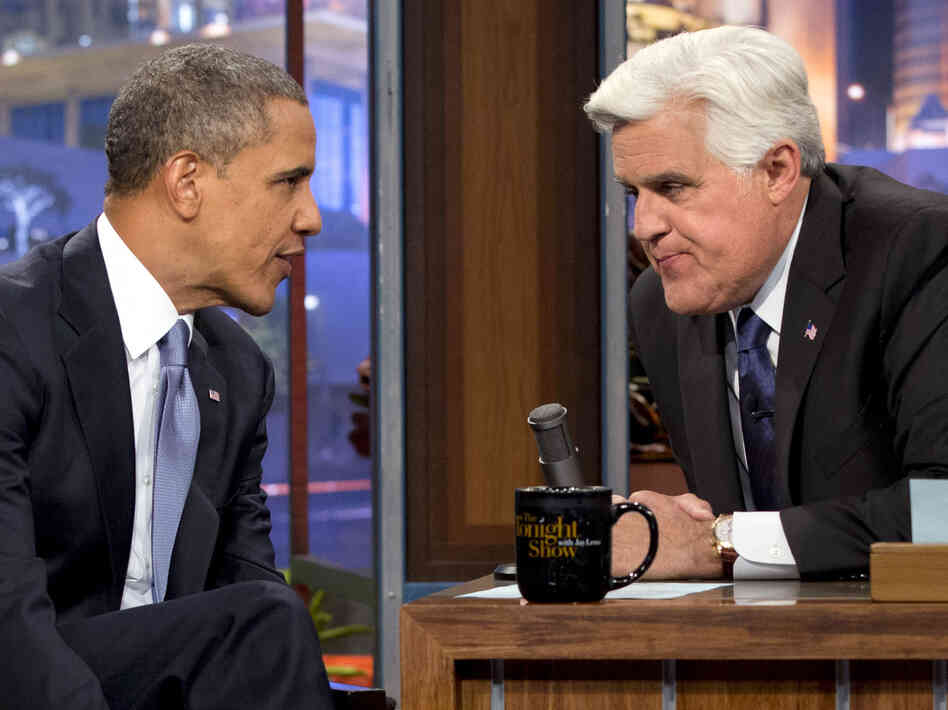 "President Obama talks with Jay Leno during the taping of his appearance on The Tonight Show with Jay Leno. Obama told Leno: ""We don't have a domestic spying program."""
