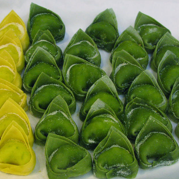 Hand-made tortelloni - the larger size -- are displayed at a grocery store in Castelfranco Emilia, Italy.