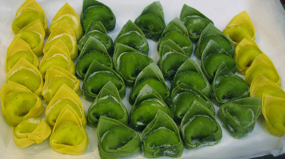 Hand-made tortelloni – the larger size — are displayed at a grocery store in Castelfranco Emilia, Italy. (NPR)
