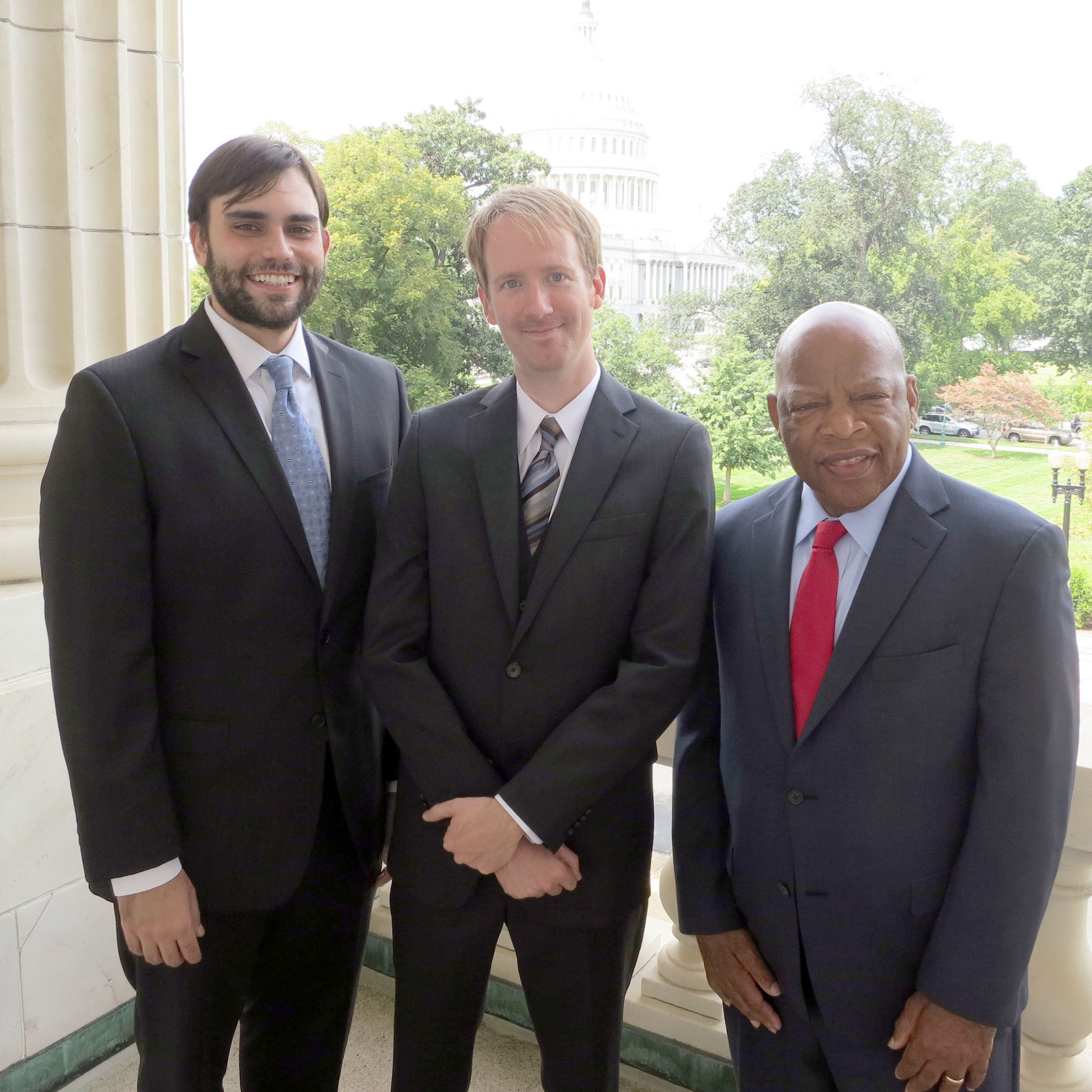 John Lewis (right) is a civil rights leader, currently a member of the U.S. House of Representatives for Georgia. Andrew Aydin (left) serves in his office and co-authored March: Book One with Lewis. Nate Powell (center) is a graphic novelist, whose previous works include Swallow Me Whole and The Silence of Our Friends.