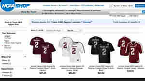 "A screenshot posted on Twitter by ESPN analyst Jay Bilas shows the results for a search for ""manziel"" — shirts and jerseys matching Texas A&M star Johnny Manziel. The NCAA says it will stop selling such products."