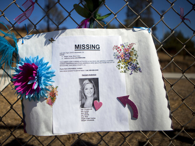 A sign for missing California teenager Hannah Anderson hangs on a fence at El Capitan High School in the Lakeside neighbo