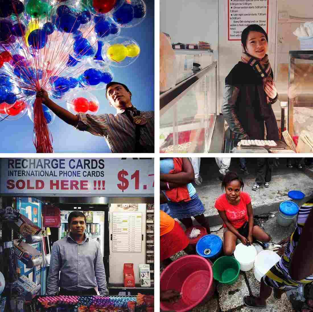Clockwise from top left: Jonny, Mickey Mouse balloon vendor at Disneyland in Anaheim, Calif. (Sheldon Serkin/@shelserkin); Ting, clerk at Dong Xing Chinese and Japanese Takeaway; Marlene Lucien, Port-au-Prince, Haiti (John Poole/NPR/@johnwpoole); Hussain, newsstand kiosk vendor, Melbourne, Australia (Michael Baranovic/@mishobaranovic)