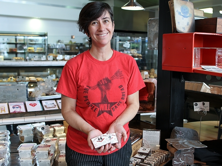 Rachel Klemek sells brownies baked with grape pomace flour at Blackmarket Bakery, her shop in Costa Mesa, Calif.