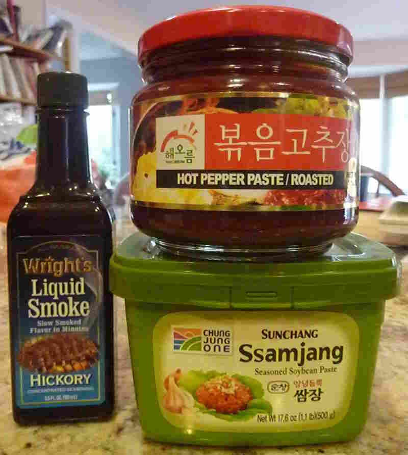 Korean spice blends bought to make Momofuku's bo ssam roast pork.