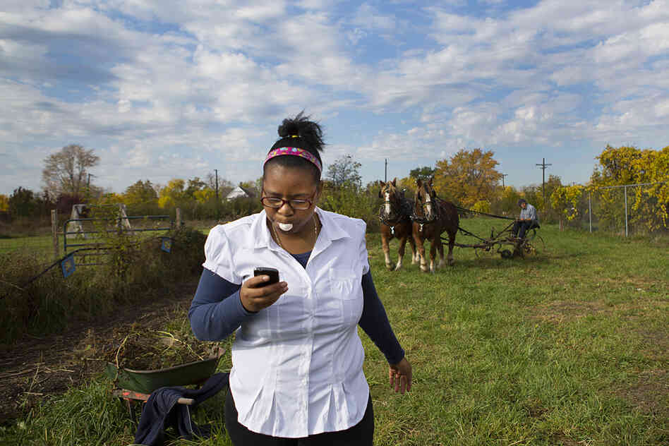 Ajhane Thomas, 18, a student at Catherine Ferguson Academy, walks back to the school barn as Jon Miller of Detroit leads his draft horses, Tess and Tara, around the urban farm, plowing through garlic plots for the first time at the school. Miller hopes that the horses can stable closer to the city to do farm chores and provide educational outings on a regular basis.