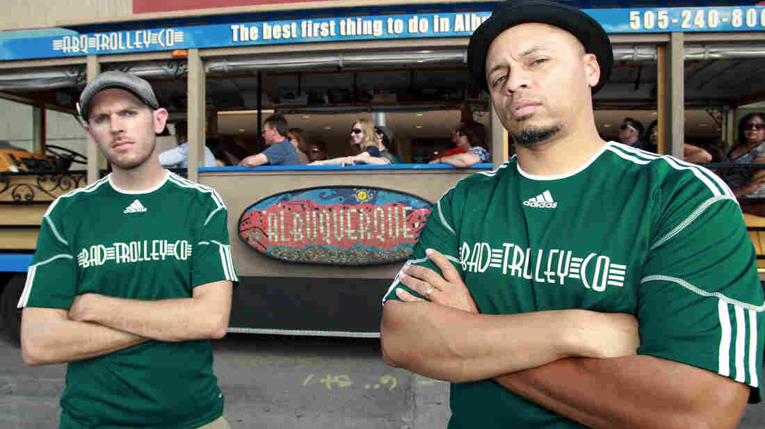 Jesse Herron and Mike Silva, owners of Albuquerque Trolley, offer tours of Breaking Bad sites.