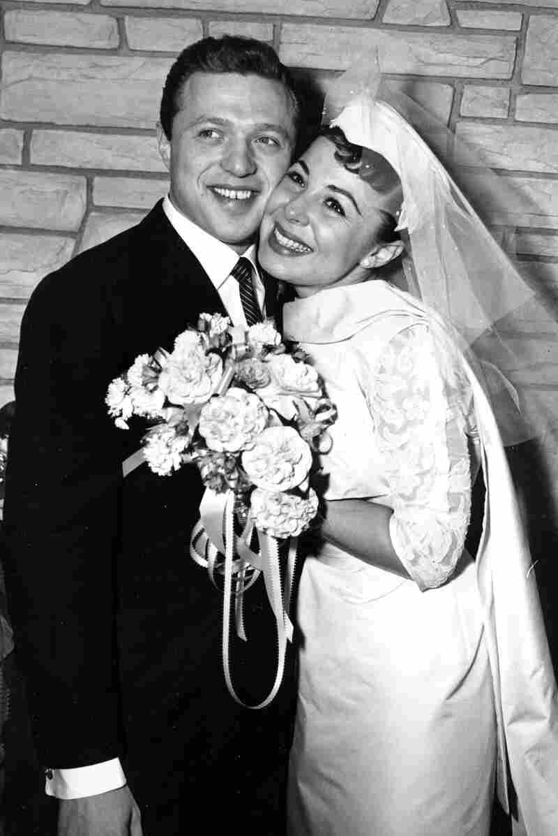Singers Eydie Gorme and Steve Lawrence, both 22, are shown on their wedding day in Las Vegas in 1957.