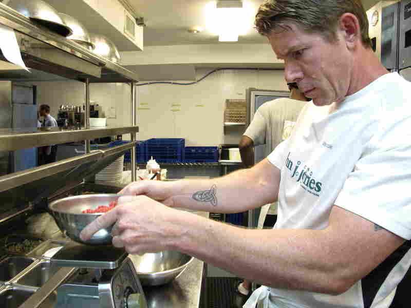 "Chef Sean Cavanaugh, co-owner of John J. Jeffries restaurant, weighs freshly ground beef to make ""The Truth."""