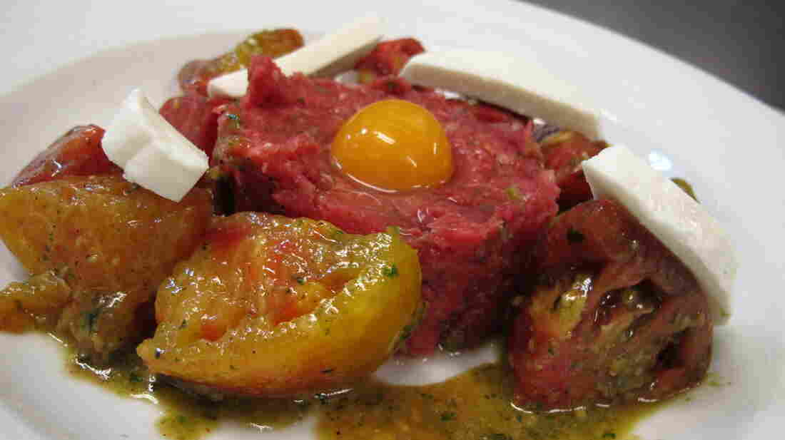 """""""The Truth"""" is the signature steak tartare of John J. Jeffries restaurant in Lancaster City, Pa. Served year-round, this summer it's accompanied by mozzarella and heirloom tomatoes."""