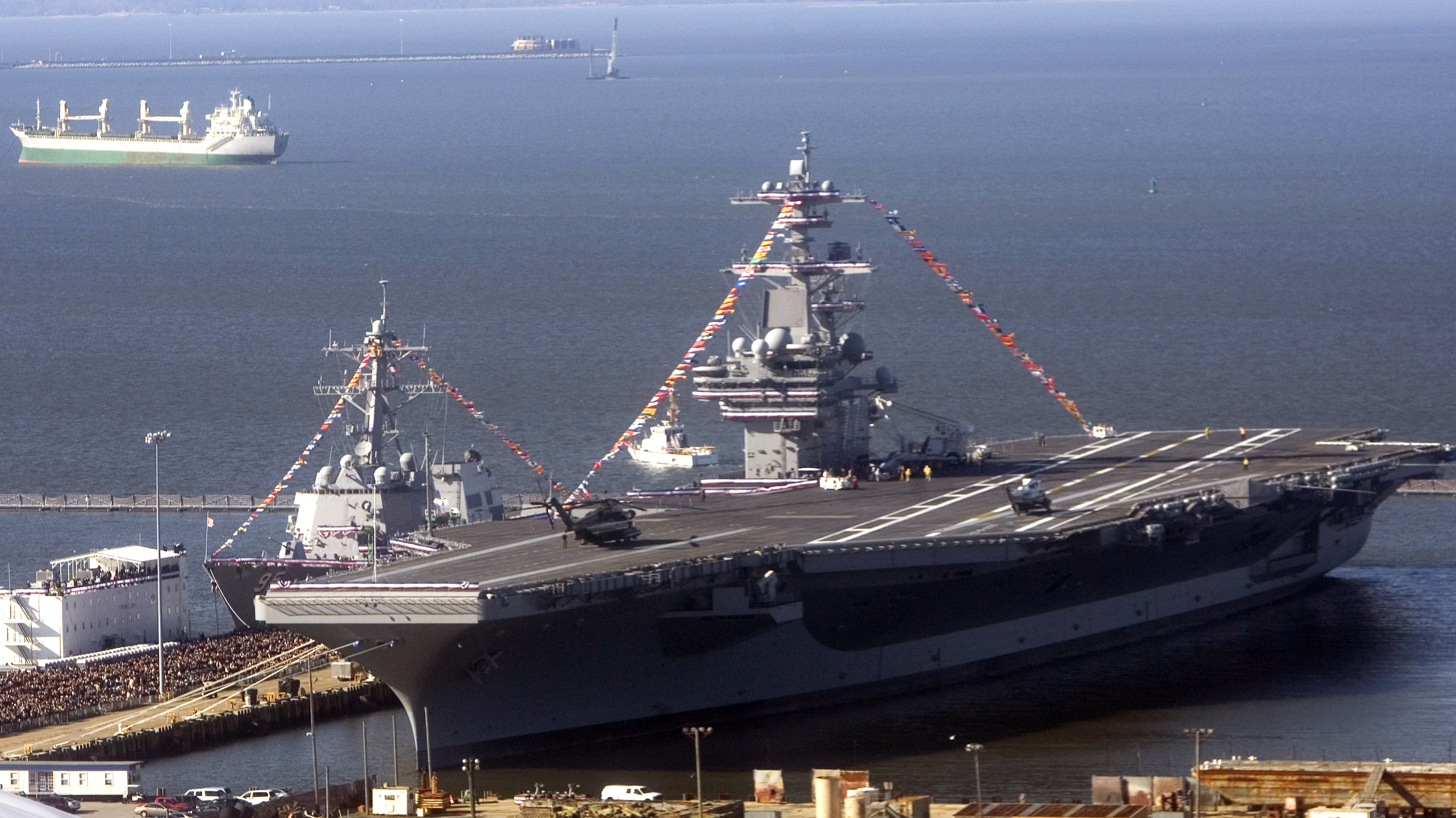 An aerial view of the USS George H.W. Bush in Norfolk, Va., in 2009.