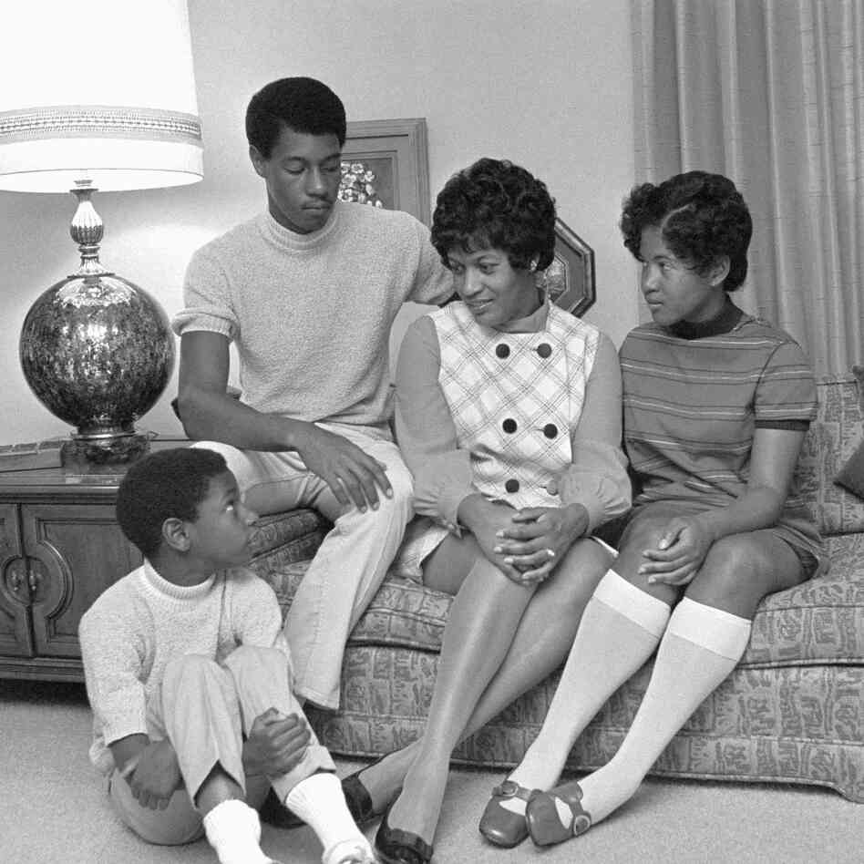 After Medgar Evers was murdered, his wife, Myrlie Evers, carried on his work. This photo shows Myrlie Evers and her children, Van, 9; Darrell, 16; and Rena, 14, in June 1969 in their Claremont, Calif., home.