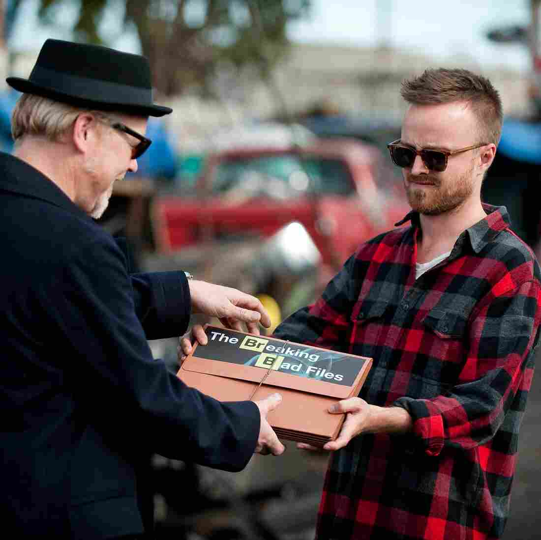 Adam Savage and Aaron Paul trade some information on Monday night's Mythbusters.