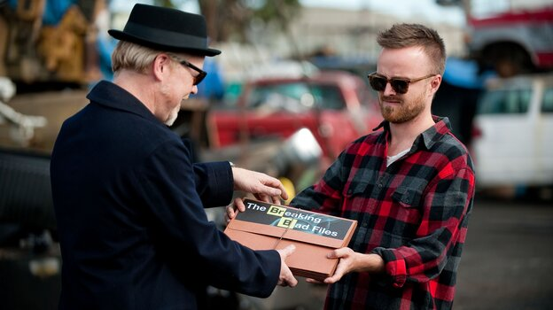 Adam Savage and Aaron Paul trade some information on Monday night's