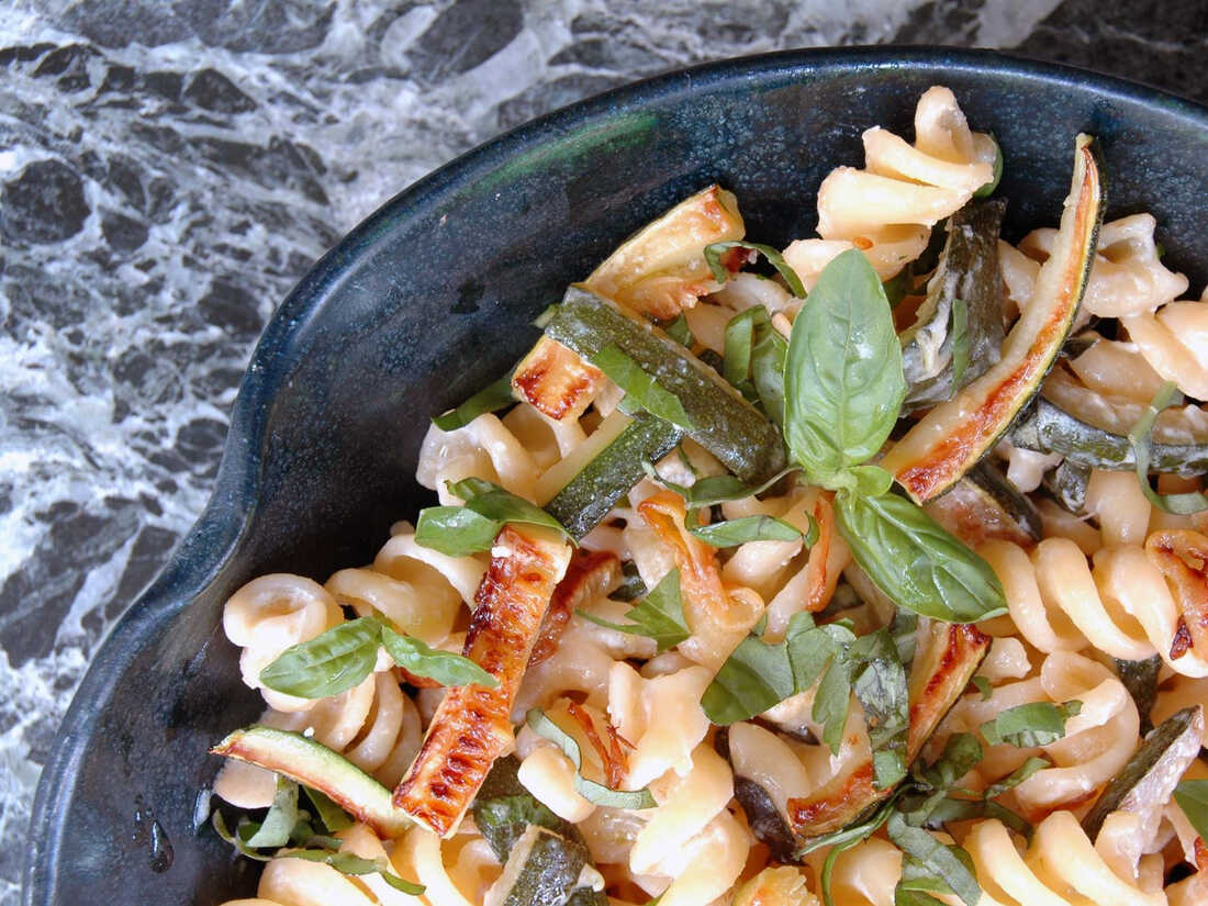 Fusilli with Caramelized Zucchini and Goat Cheese