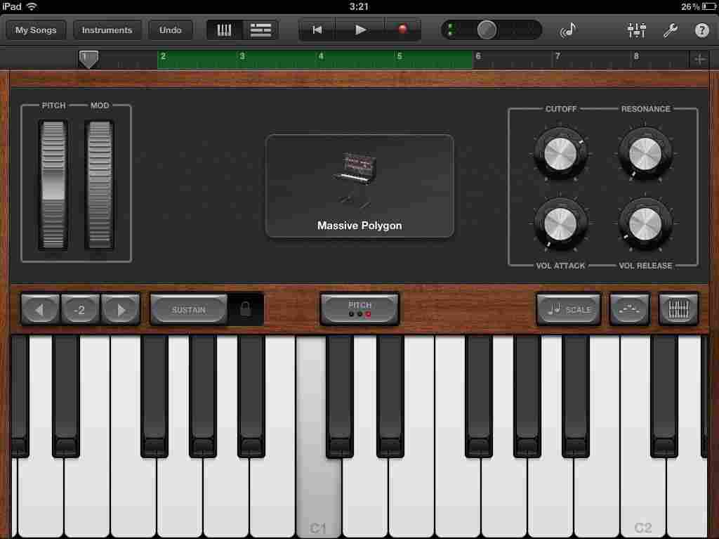 Apple's Garage Band for the iPad and iPhone includes virtual instruments, such as piano and drums, you can play like the real thing.
