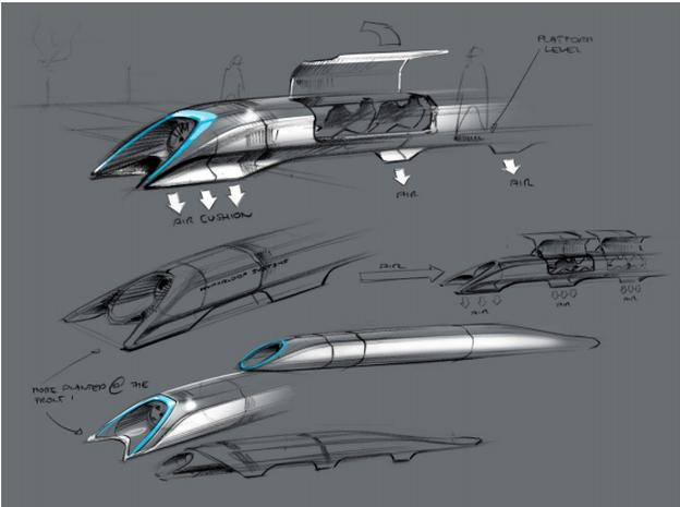 "Elon Musk's ""Hyperloop"" vehicle."