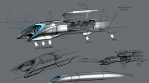 "Elon Musk's ""Hyperloop"" vehicle."