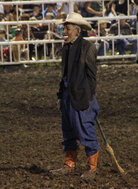 A photo taken of the clown who wore a mask resembling President Obama during a rodeo at the Missouri State Fair on Saturday.