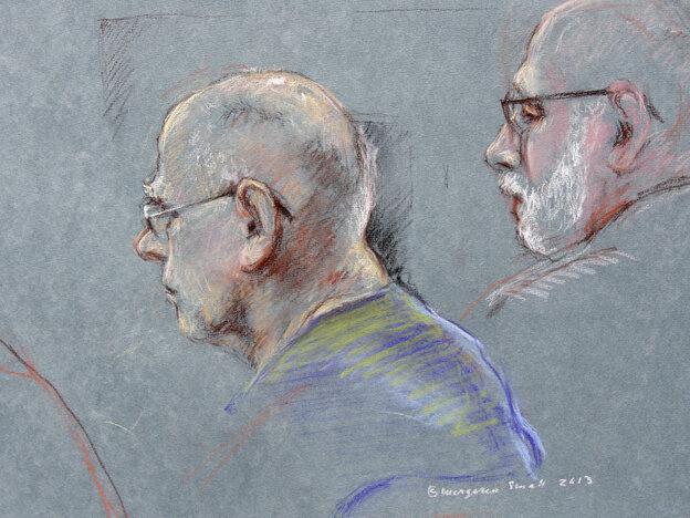 "A courtroom sketch of James ""Whitey"" Bulger (left) and defense attorney J.W. Carney, Jr."