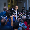 U.S. Senate candidate Cory Booker, the mayor of Newark, N.J., speaks to the media after casting his ballot for the Senate primary on Tuesday.