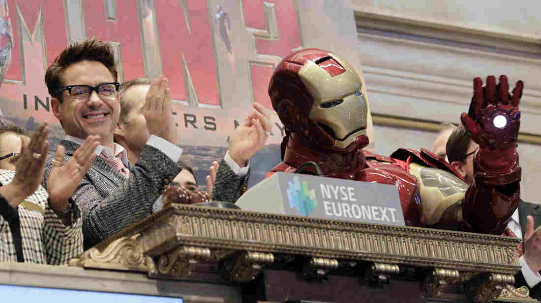 Actor Robert Downey Jr. promotes Iron Man 3 at the New York Stock Exchange on April 30. As far as we know, Musk is not in the Iron Man suit.