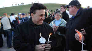 Columbine High School Principal Frank DeAngelis at a candlelight vigil at the Columbine Memorial at Clement Park near Littleton, Colo., in April of 2009.