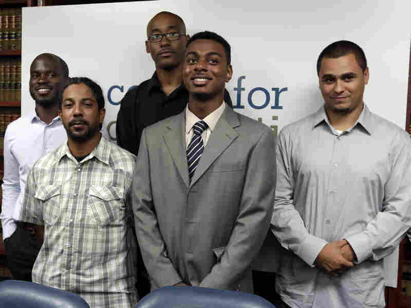 Nicholas Peart, far left, was stopped by police on his 18th birthday.