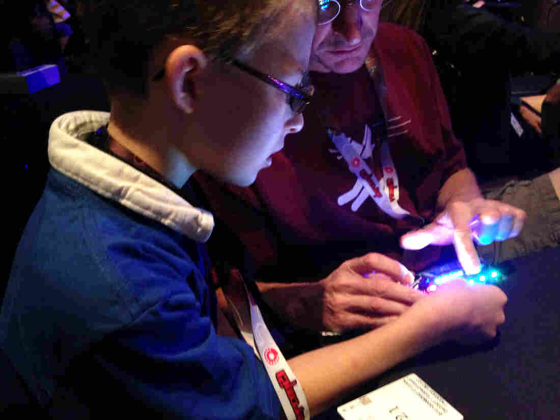 "Owen Chilcoat hacking his tablet. ""I am just messing around ... trying to break it,"" he says."