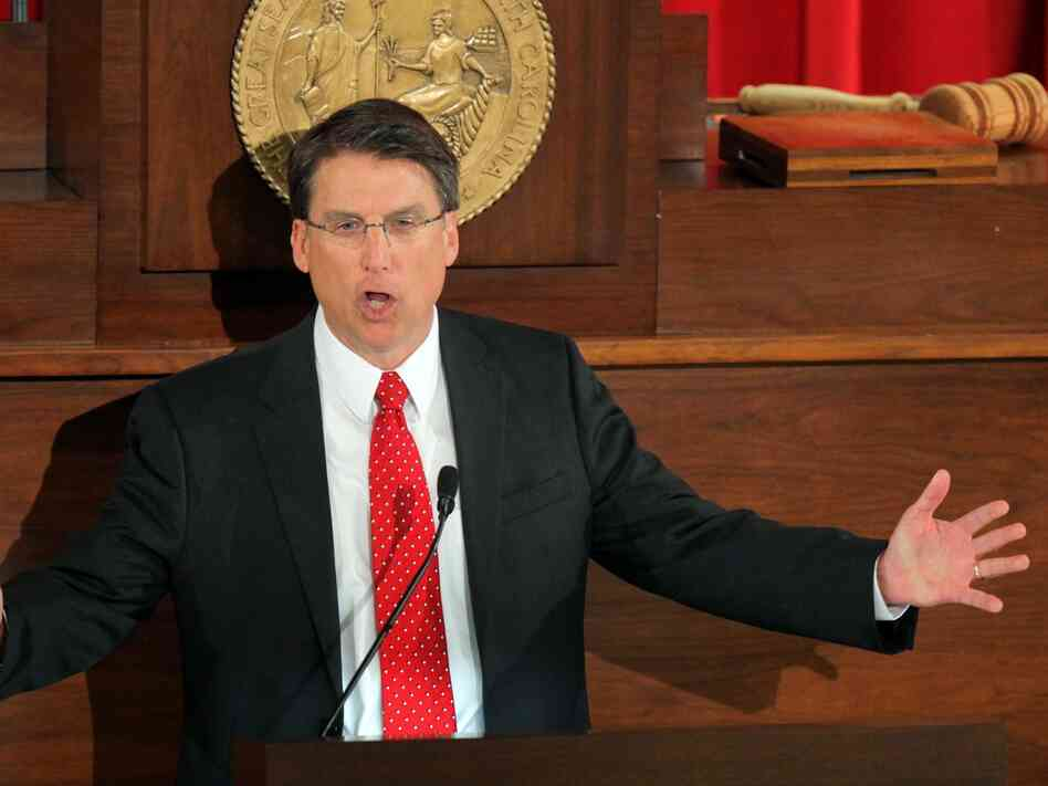 North Carolina Gov. Pat McCrory delivers the State of the State address in February in