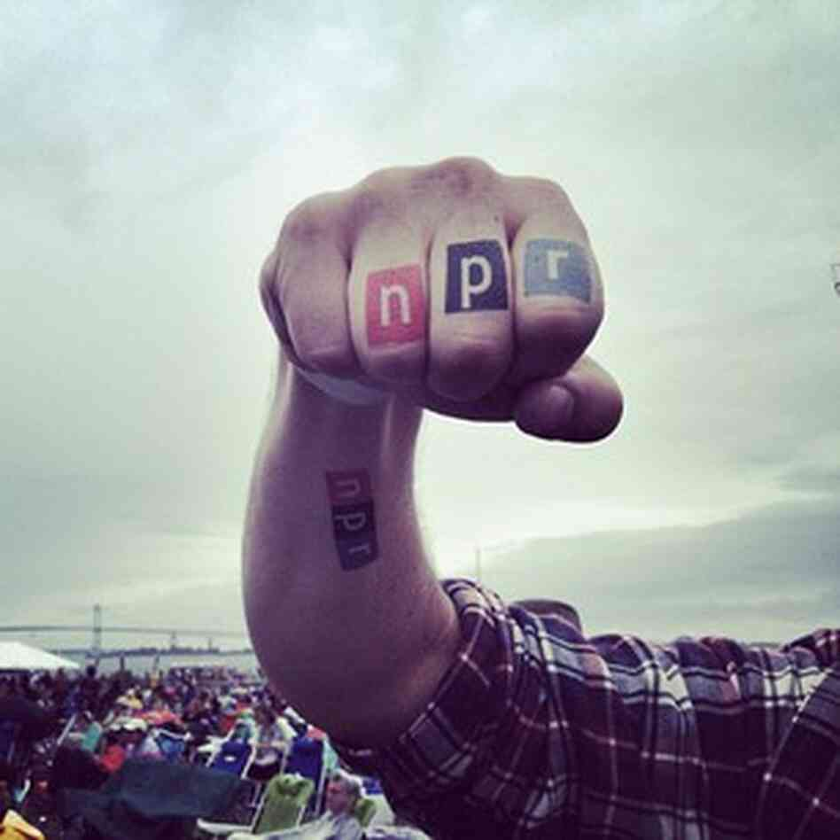 #nprknucktats We're giving out NPR temporary tattoos at #newportfolk so come get yours!