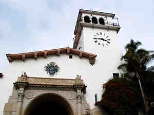 The Santa Barbara County Courthouse, a Spanish-Moorish landmark, was built in 1929.