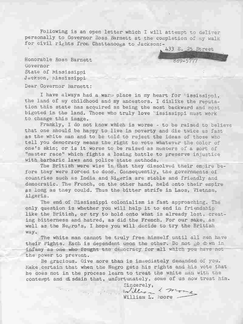 Moore intended to deliver a letter demanding the end of segregation, to Mississippi Gov. Ross Barnett. Click here to read the letter in its entirety.