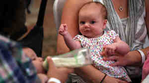 "Eight-week-old Eleanor Delp attends a ""What to Expect"" baby shower with her mother in August of 2012 in Springfield, Virginia."
