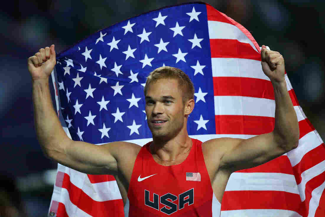 Nick Symmonds of the United States celebrates winning silver in the Men's 800 meters final during Day Four of the 14th IAAF World Athletics Championships Moscow 2013 at Luzhniki Stadium on Tuesday.
