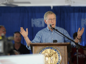 Sen. Mitch McConnell, R-Ky., speaks during the 133rd Annual Fancy Farm Picnic in Fancy Farm, Ky., on Aug. 3. McConnell said this week that using a big spending bill to defund Obamacare is not the way to go.