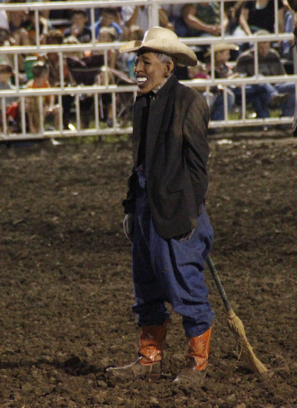 A photo taken of the clown who wore a mask resembling President Obama during a rodeo Saturday at the Missouri State Fair.