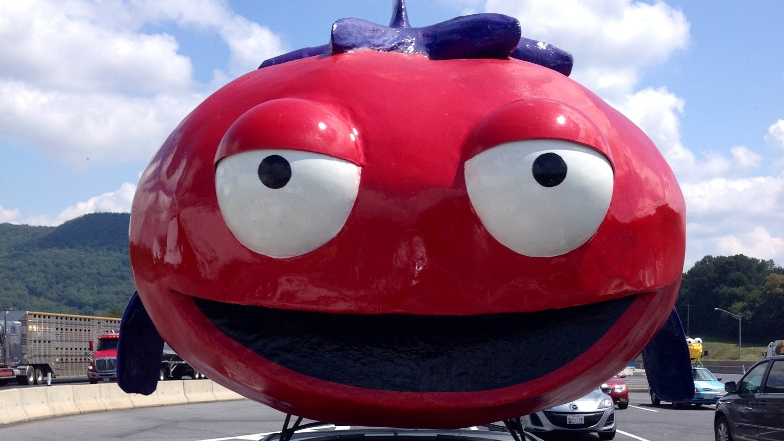 K-Sup, the Fishy Tomato, atop a car advocating stricter food labeling.